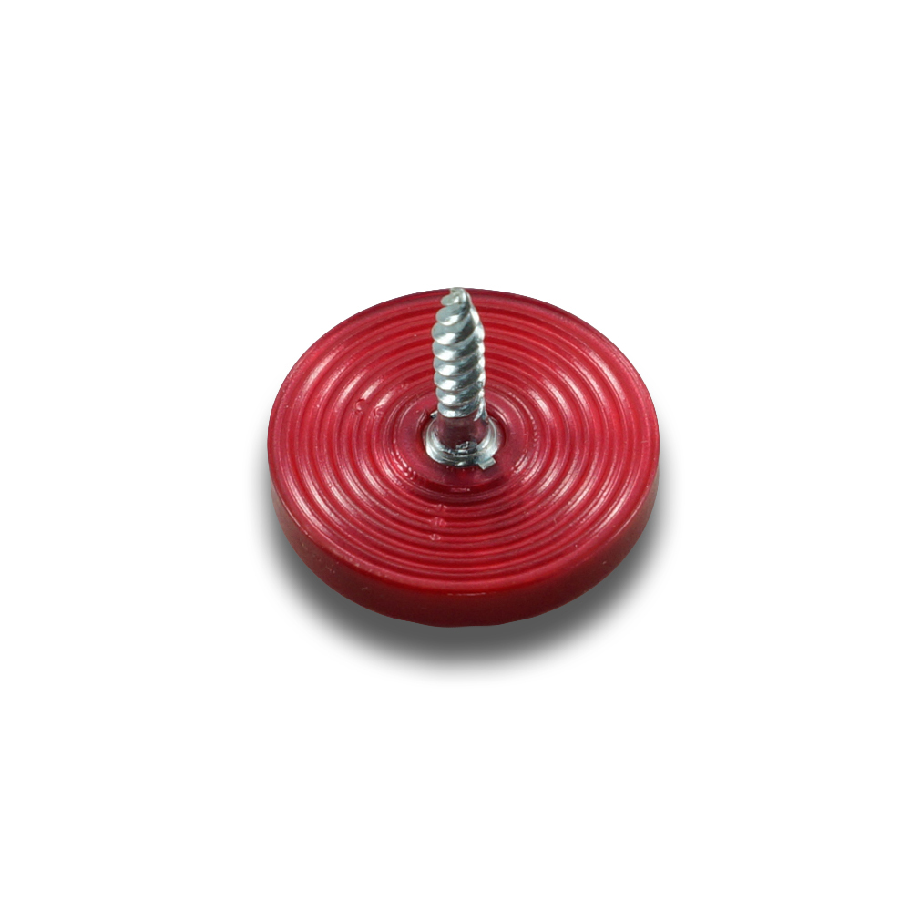Plastic button with screw, 15 mm - red pearl 104