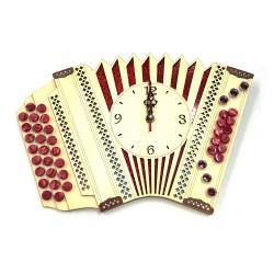 Lesena stenska ura, harmonika - rdeča