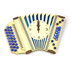 Lesena stenska ura, harmonika - modra